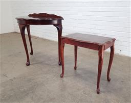 Sale 9151 - Lot 1169 - Demi lune hall table and side table (h:89 x w:90 x d:45cm)