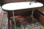 Sale 8282 - Lot 1045 - Victorian Cast Iron Conservatory Table, with oval marble top & distressed white finish
