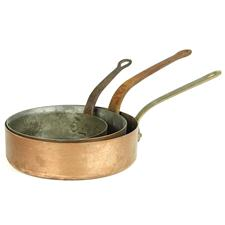 Sale 8351A - Lot 84 - Set of Three Graduated French Copper Saucepans diameter 18-24cm depth 6cm(approx weight 4.5kg)
