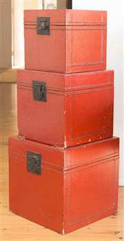 Sale 8380A - Lot 17 - Three Chinese graduated storage boxes with red lacquer effect finish, largest H 35cm