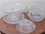 Sale 8470H - Lot 101 - A cut glass cake stand, together with a shallow dish, cream jug, and a butter dish