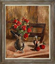 Sale 8530A - Lot 59 - Early C20th French School - Still Life with Red Flowers 65 x 54 cm