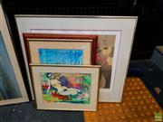 Sale 8636 - Lot 2075 - Group of (4) Assorted Artworks incl: Still Life & Nude watercolours, plus Decorative Prints