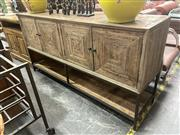 Sale 8896 - Lot 1049 - Timber 4 Door Sideboard with Metal Base