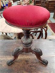 Sale 8939 - Lot 1100 - Mahogany Piano Stool with Red Velvet Top. H: 55, D: 43cm