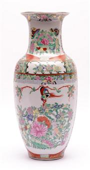 Sale 9015J - Lot 179 - Famille Verte Chinese Vase Elaborately Decorated with Flowers and Pheasants  (H: 37.5cm)