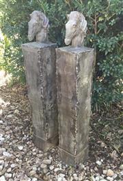 Sale 9015G - Lot 10 - Pair Of Carved Genuine Stone Horse Gateway Posts .General Wear , Cracking , Chipping , Previous Repairs.Size 120cm H x 20cm W
