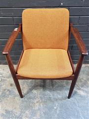 Sale 9022 - Lot 1074 - Vintage Teak Armchair with Burnt Orange Upholstery (H:79 W:64cm)