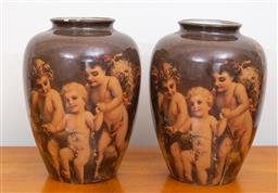 Sale 9103M - Lot 731 - A pair of transfer glass vases depicting cupids on brown ground, each Height 27cm