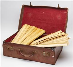 Sale 9123J - Lot 346 - A vintage leather case containing a large collection of as new vintage English made timber rulers (mainly 18 inch)