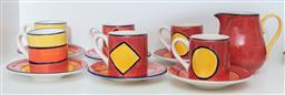 Sale 9165H - Lot 166 - A Liddy handpainted part coffee service including six cups, six saucers and milk jug