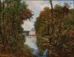 Sale 9244 - Lot 562 - FOURNIER DESORMEA Riverscape with Hunter & Hound, 1827 oil on canvas 42.5 x 55 cm (frame: 57 x 70 x 4 cm) signed and dated lower left