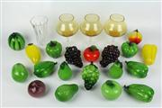 Sale 8422 - Lot 6 - Art Glass Fruit & Vegetables & Other Glass incl Bohemia Amber Glass Goblets