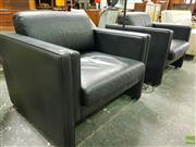 Sale 8566 - Lot 1057 - Pair of Modernist Leather Club Chairs