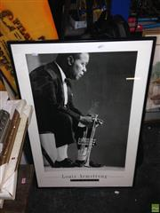 Sale 8622 - Lot 2096 - Framed Jazz Print of Louis Armstrong