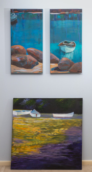 Sale 8677B - Lot 831 - Maureen Varnovski, just drifting, 2011, together with a pair of works by H Drew, all unframed oils on canvas, larger work 1m x 1m