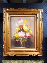 Sale 8671 - Lot 2053 - Robert Cox - Still Life Yellow & Pink Roses, oil on canvas, signed lower right -