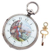 Sale 8879 - Lot 354 - A 19TH CENTURY STERLING SILVER VERGE POCKET WATCH; featuring a white enamel hand painted dial depicting Britannia and sailing ship,...