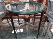 Sale 8904 - Lot 1085 - Modern Round Glass Top Side Table on Metal Base