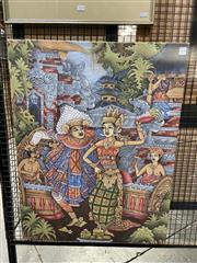 Sale 8936 - Lot 2035 - A Balinese Painting depicting a Ceremonial Dance, 85 x 65 cm