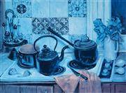 Sale 8955A - Lot 5060 - Margaret Olley (1923- 2011) - Kettle on the Stove 49.5 x 67.5 cm (frame: 76 x 93 x 3 cm )