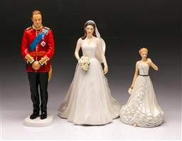 Sale 9098 - Lot 391 - Royal Doulton Prince William & Catherine Wedding Figurines together with a Wendy Figure (Tallest - h:23cm)
