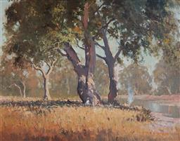 Sale 9125 - Lot 509 - Michael McCarthy (1940 - ) Murray River Picnic oil on board 34 x 44 cm (frame: 51 x 61 x 5 cm) signed lower right, titled verso