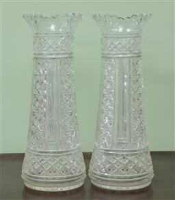 Sale 9120H - Lot 319 - A pair of early clear Bohemian cut glass vases. Height 31cm