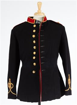 Sale 9130E - Lot 69 - Three black wool horse artillery uniform jackets, two with full set of buttons,  with faults. circa 1890.