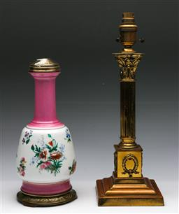 Sale 9173 - Lot 36 - A brass column lamp base and china lamp base (as found)