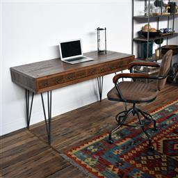 Sale 9245T - Lot 4 - An apothecary Mid-Century style desk with reclaimed timber, Aged Metal Accent Handles, and Hairpin Legs. Dimensions: W140 x D60 x H7...