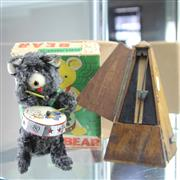 Sale 8236 - Lot 80 - Rock Valley Toy Alps Mechanical Bear Drummer in Box & French Metronome