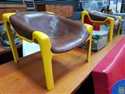 Sale 8625 - Lot 1010A - Pair of Yellow Fibreglass Chairs with Brown Leather Seat -