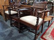 Sale 8904 - Lot 1099 - Pair of Timber Carver Chairs with Rattan Back & Barley Twist Supports