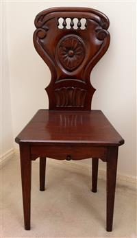 Sale 8963H - Lot 1 - A C19th mahogany hall chair, Height of back 95cm