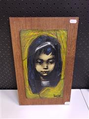 Sale 8958 - Lot 2080 - A Retro Painting by Michel Bati Girl acrylic on board, 41 x 26cm (frame), signed lower right