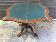 Sale 9048 - Lot 1027 - Victorian Burr Walnut Card Table, the serpentine top enclosing a green baize interior, raised on a turned pedestal with four outswep...