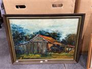 Sale 9050 - Lot 2072 - G. Zuliani,Untitled, 1971 (Farm Shed), oil on canvas, frame: 51 x 69 cm, signed lower right -