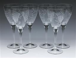 Sale 9093 - Lot 32 - Set of Six Royal Doulton Crystal Jasmine Wine Glasses (H21cm)
