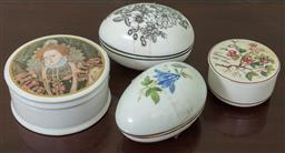 Sale 9120H - Lot 320 - Assorted lidded ceramic powder containers, Diameter of largest 12cm.