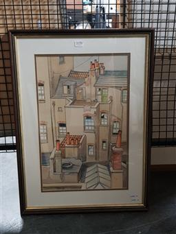 Sale 9127 - Lot 2058 - Charles Newman Chimneys & Rooftops, watercolour, frame: 59 x 44 cm, signed lower left -