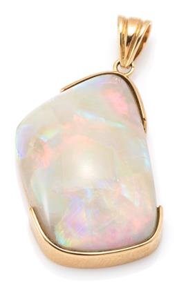 Sale 9164J - Lot 439 - AN 18CT GOLD SOLID OPAL PENDANT; featuring 27.4 x 19mm freeform solid Andamooka opal of approx. 38ct with fine rolling colours, wt....
