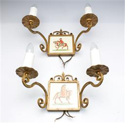 Sale 9176 - Lot 2623 - A pair of brass wall mount light fittings with signed ceramic plaques (W:36cm)