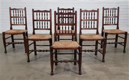 Sale 9196 - Lot 1063 - Good Set of Six English or French Provincial Oak Kitchen Chairs, with spindle gallery backs, woven rush seats & turned legs (h:95 w:...