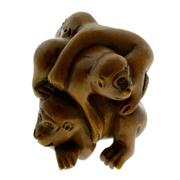 Sale 8065 - Lot 305 - A BOXWOOD NETSUKI; featuring 3 monkeys. Signed Yoshikawa.