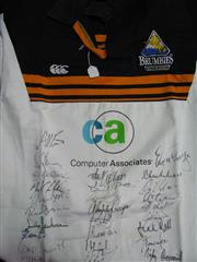Sale 8125 - Lot 55 - Canberra Brumbies jersey c 2010 signed by 29 players including Ashley-Cooper, Joe Rolfe, George Smith etc