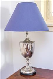 Sale 8270 - Lot 35 - A silvered metal granite based lamp with shade, H 80cm
