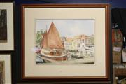 Sale 8332 - Lot 2026 - Artist Unknown - On the Jetty, watercolour, 39 x 50cm, signed lower right