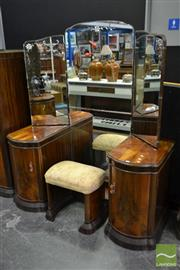 Sale 8507 - Lot 1004 - Art Deco Mirrored back Dressing Table with Stool