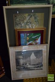 Sale 8518 - Lot 2085 - 4 Oriental Works plus a Boat Print